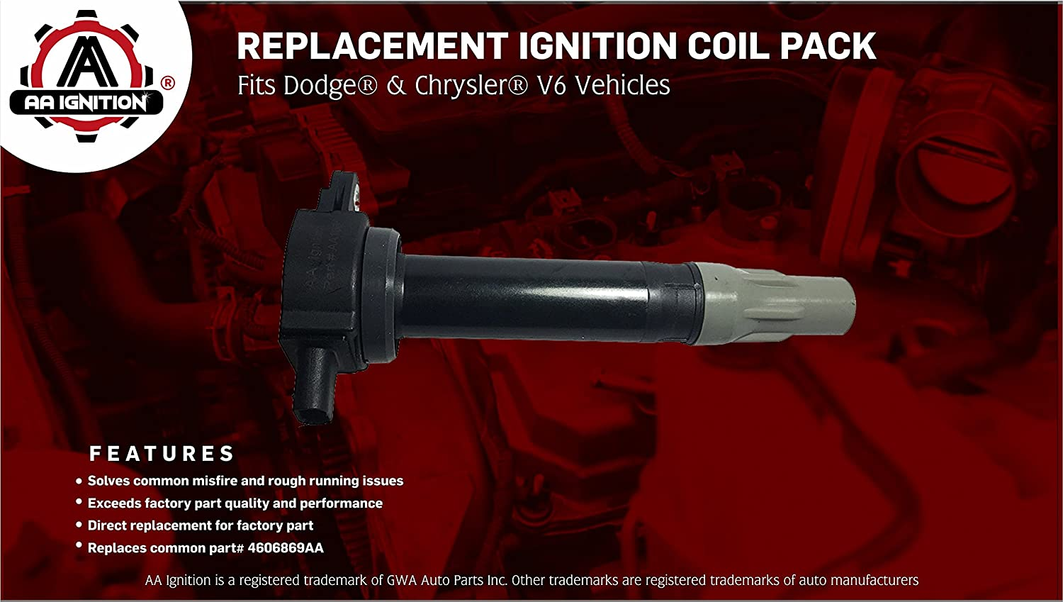 Ignition Coil Pack Fits Dodge Chrysler V6 25l 27l 2000 Sebring Spark Plugs Cables And Diagram 35l Replaces 4606869aa Magnum Charger Nitro Challenger
