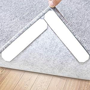 Rug Gripper, 16 Pcs Double Sided Anti Curling Non Slip Reusable Rug Pad, Washable Rug Tape for Hardwood Floors, Tile Floors, Carpets, Floor Mats, Wall (White)