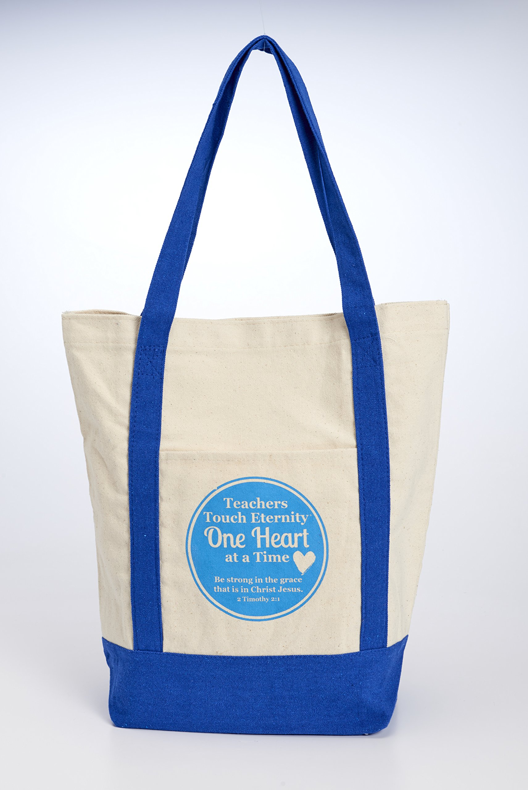 Teachers Touch One Heart Blue 15.25 x 15 Inch Canvas Shoulder Tote Bag