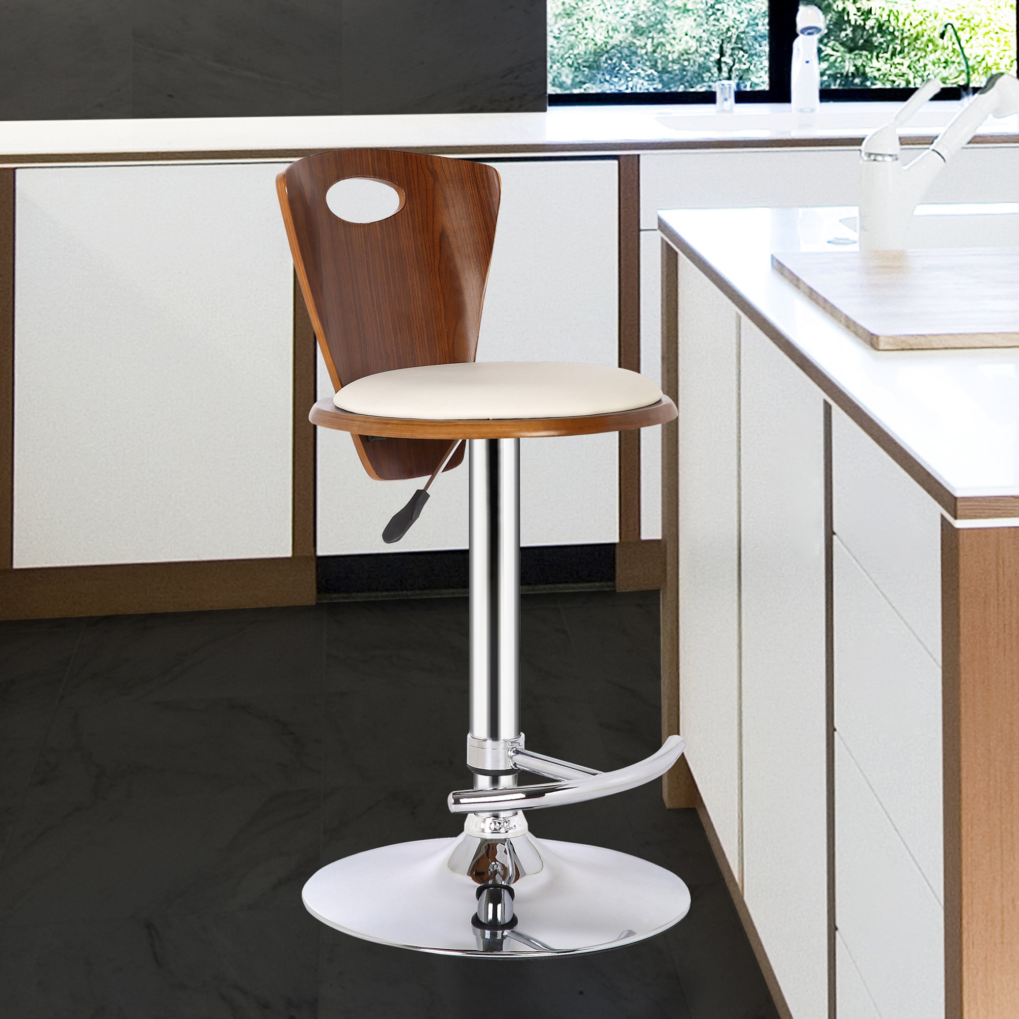 Armen Living LCSEBACRWA Seattle Barstool in Cream Faux Leather, Walnut Wood and Chrome Finish by Armen Living (Image #1)