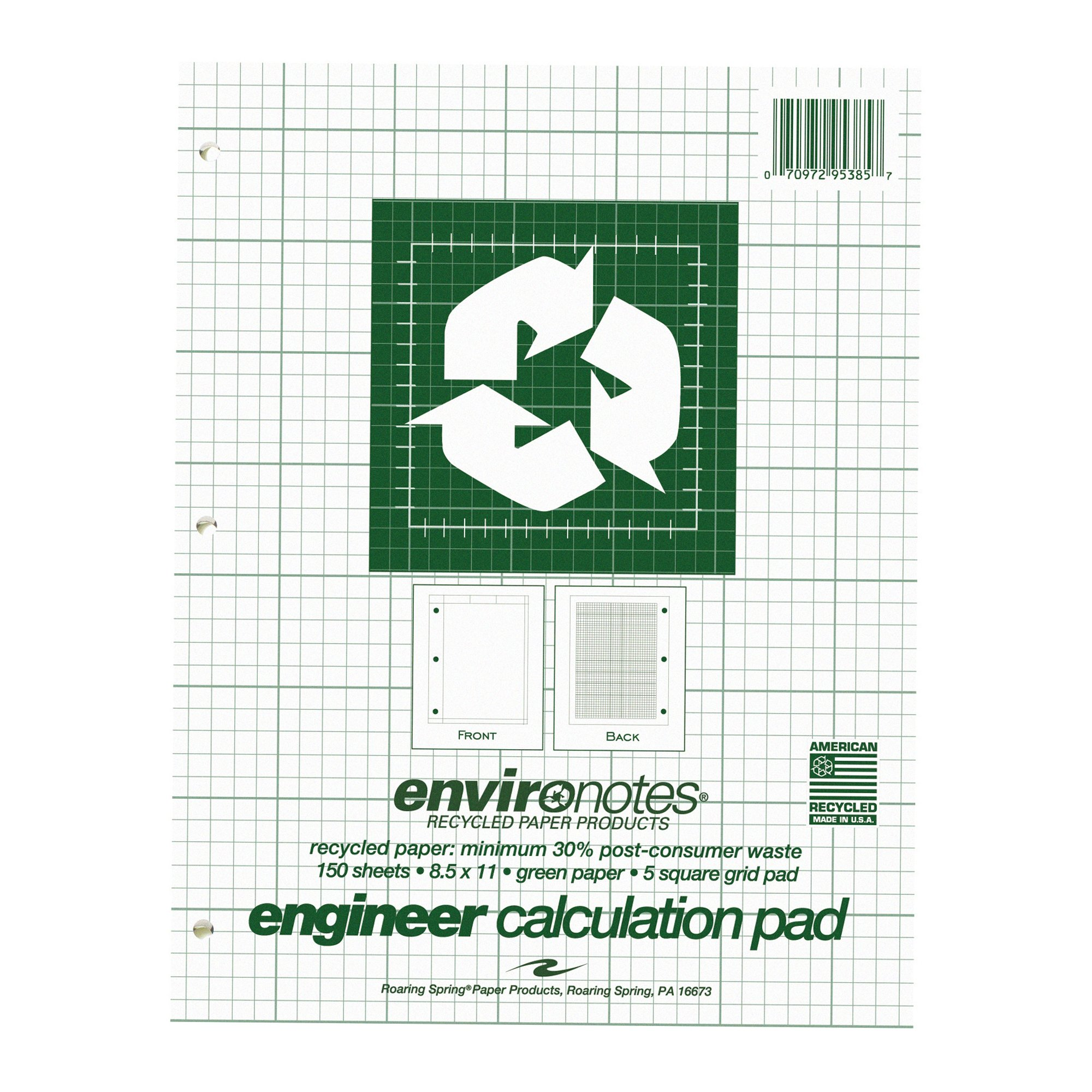 Case of 24 Engineer Pads, 8.5''x11'', 150 sheets of 16# Recycled Green Paper, 5x5 printed Grid, 3-Hole Punched, Extra Heavy Backing by Roaring Spring (Image #2)