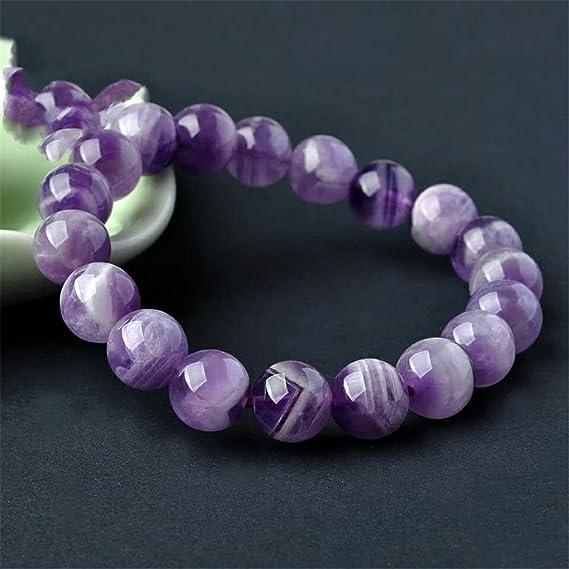 RICH PURPLE AMETHYST Bracelet Glowing 14mm Round Beads 1 One Gem Purple Quartz Jewelry- Multi Size Stretch Aquarius Pisces Birthstone