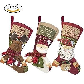 3 pcs set christmas stockings 18 xmas stockings hanging 3d santa claus - Xmas Stockings