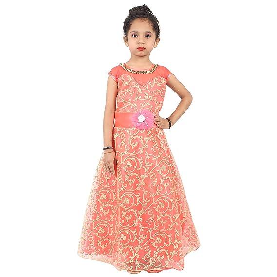 Red Eye Kylon Peach Color Unique Design Kids Gown Party wear New ...