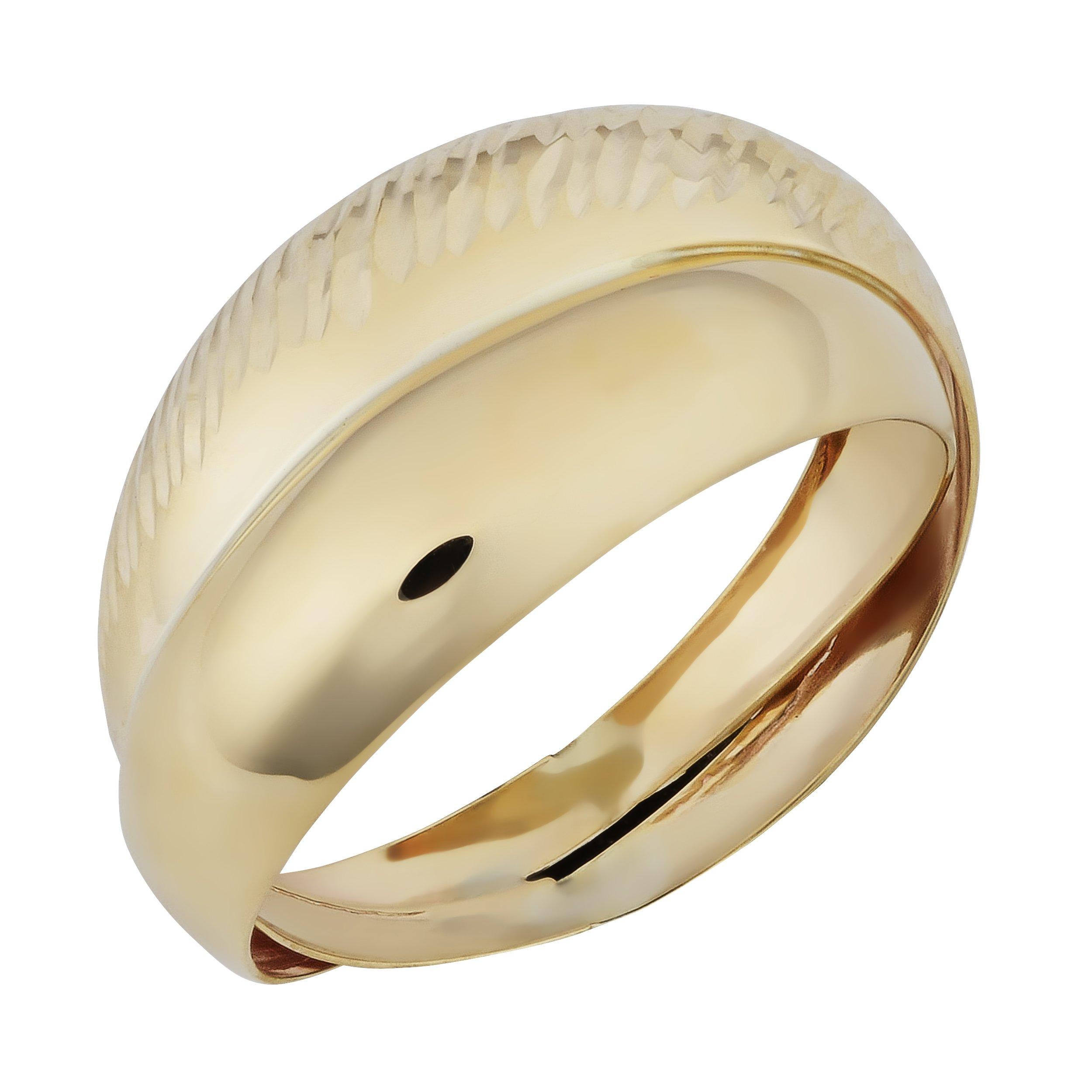 Kooljewelry 10k Yellow Gold Diamond-cut and Polished Double Band Ring (size 7)