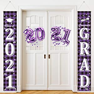 2021 Graduation Party Decorations Graduation Porch Sign 2021 Congrats Graduation Banner Hanging Flags Sign Banners 2021 Grad Party Supplies for Outdoor Indoor Home Door Decor (Purple and Black Plaid)