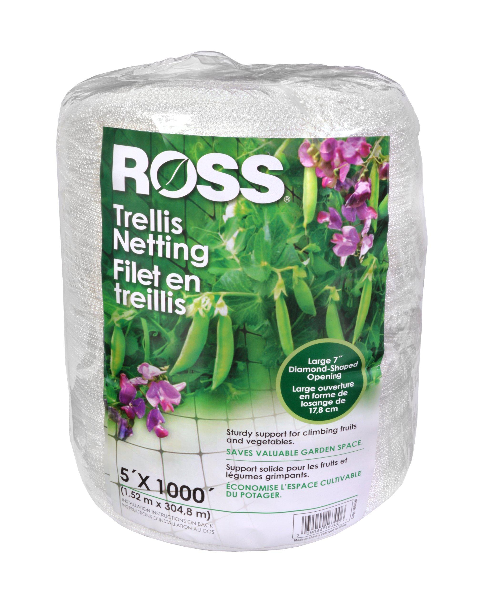 Ross Trellis Netting (Support for Climbing, Fruits, Vegetables and Flowers) White Garden Netting, 5 feet x 1000 feet