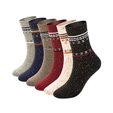 6 Pack Womens Thick Knit Wool Socks-Warm Soft,Casual Cotton-Crew Winter Socks