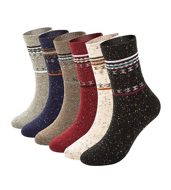 6 Pack Womens Winter Warm Socks Soft Casual Thick Wool Crew Socks  (mix fashion pattern wool 05c868ec92