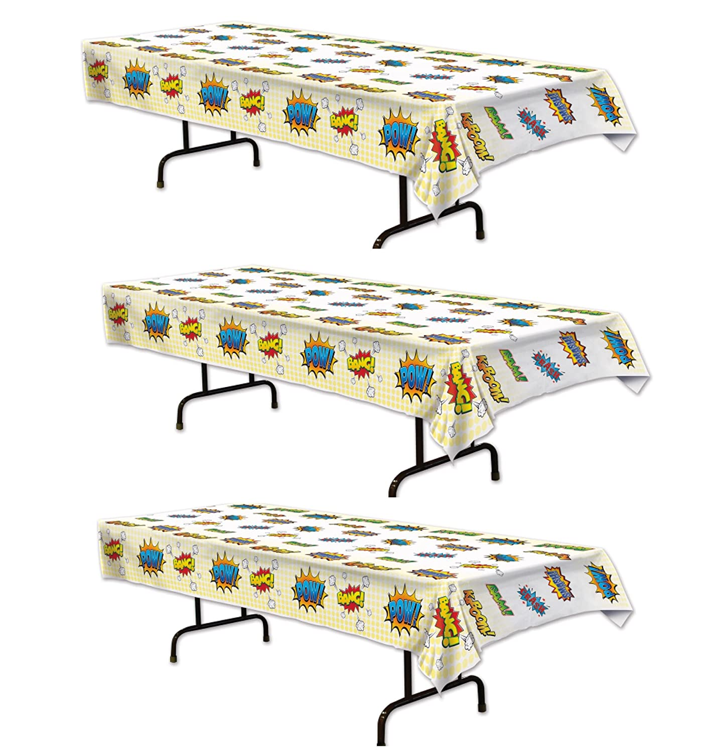 3 Super Hero Tablecover for themed parties and events Value Bundle of 3 Bstl Co