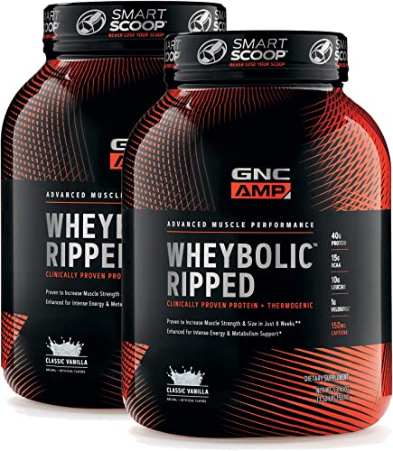 GNC AMP Wheybolic Ripped Whey Protein Powder – Classic Vanilla, Twin Pack, 22 Servings Each, 40 Grams of Protein