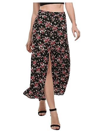 9f1b179c1e Zeagoo Women's Boho Floral Print High Waist Summer Beach Wrap Long Maxi  Skirt Black XXL