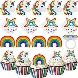 48 Pack Unicorn Themed Cupcake Rings Including Unicorn Cupcake Rings, Rainbow Cupcake Toppers Rings and Colorful Cloud Cupcake Topper Decorations for Baby Shower Birthday Party Supplies