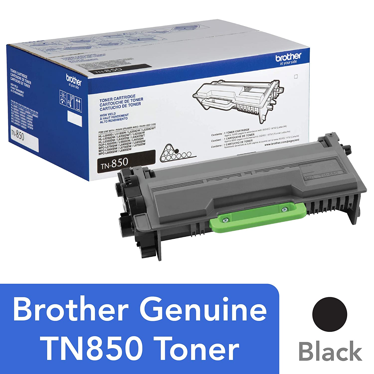 Brother Genuine High Yield Toner Cartridge, TN850, Replacement Black Toner, Page Yield Up To 8,000 Pages, Amazon Dash Replenishment Cartridge