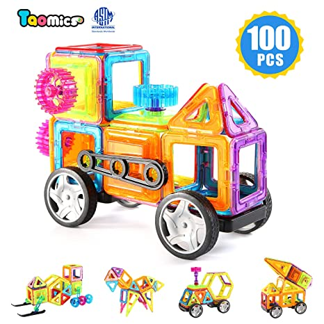 100pcs Magnetic building construction blocks Kids Toys Car Train set with wheel