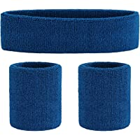 OnUPGO Unisex Adult Set Sport hoofdband en pols katoen zweetband