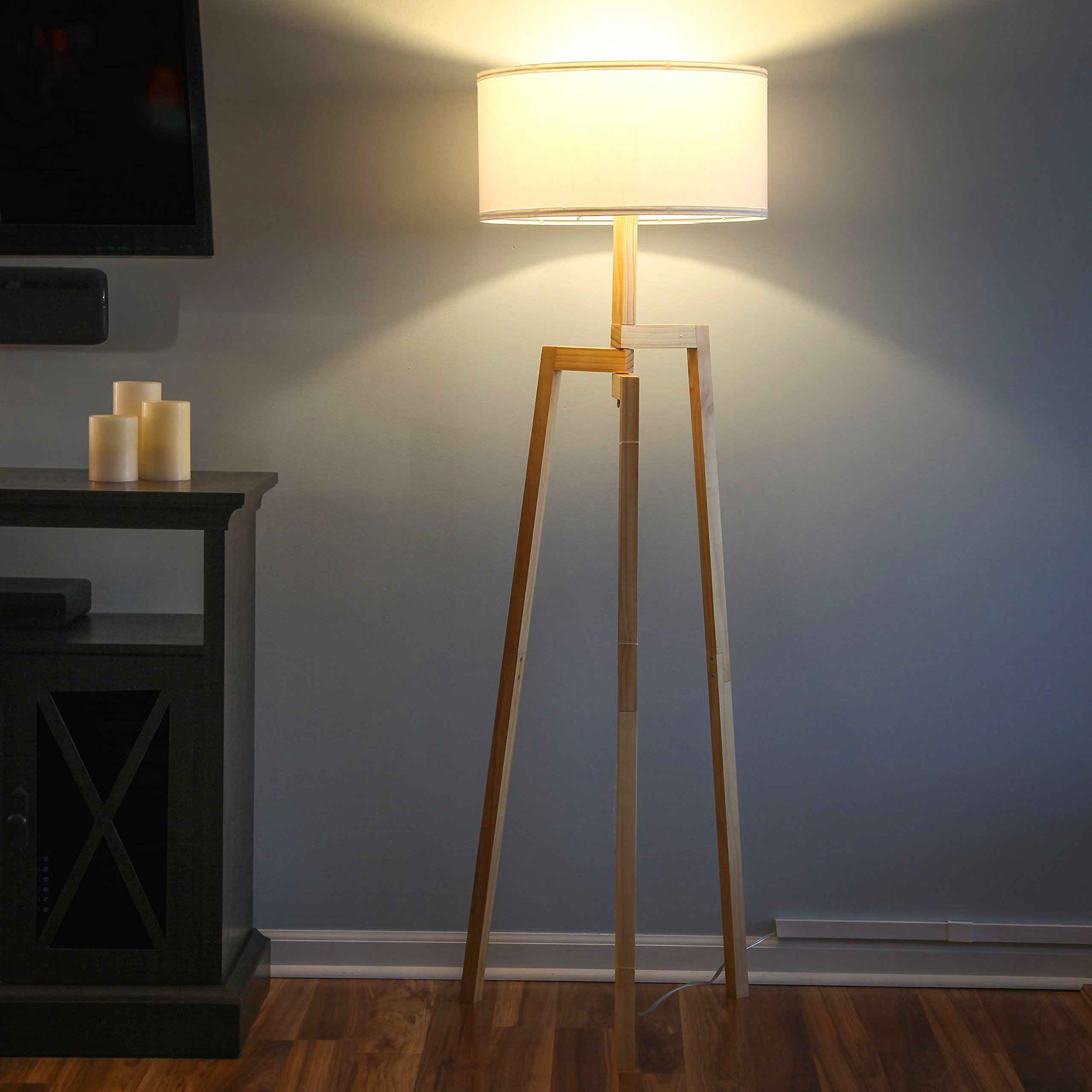 Brightech New Mia LED Tripod Floor Lamp– Modern Design Wood Mid Century Style Lighting for Contemporary Living or Family Rooms- Ambient Light Tall Standing Survey Lamp for Bedroom, Office- White Shade by Brightech (Image #6)