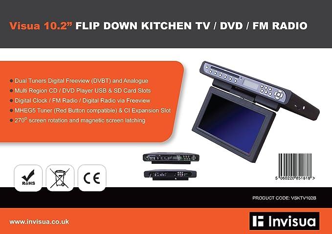 VVisua 26cm Schwarz Flip Down Under Kitchen TV / DVD: Amazon.de ...