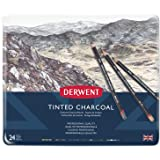 Derwent 2301691 Tinted Charcoal Drawing Pencils, Set of 24, Watersoluble, Professional Quality, 2301691, Multicolor