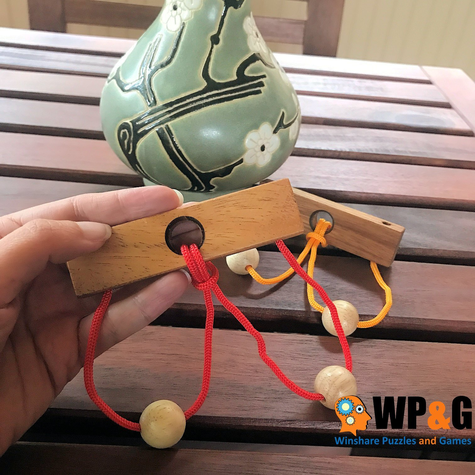 Two Lovers String Rope Ring Puzzle - Wood IQ Brain Teaser Mind Game by Winshare Puzzles and Games (Image #3)