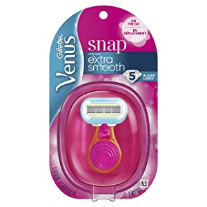 Gillette Venus Snap Cosmo Pink with Extra Smooth Women's On-the-Go Razor- 1 handle + 1 Refill
