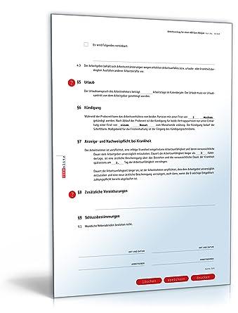 Arbeitsvertrag Minijob Doc Vertrag Für 450 Euro Minijob