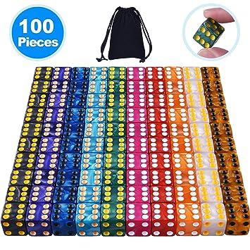 Amazon.com: AUSTOR 100 piezas 6 - Juego de dados de cara, 10 ...