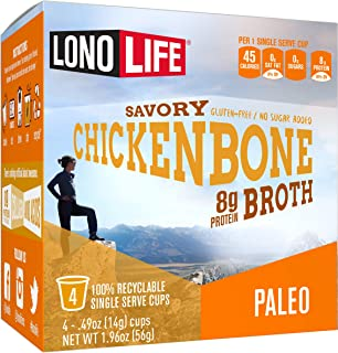 product image for LonoLife Chicken Bone Broth Powder with 8g Protein, Paleo and Keto Friendly, Single Serve Cups, 24 Count