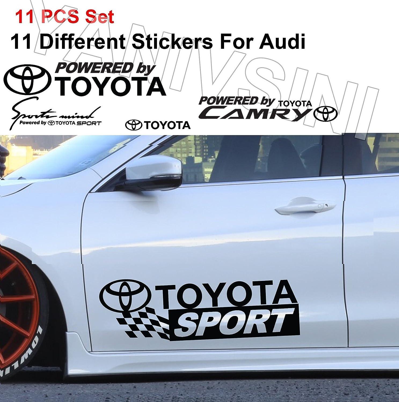 Amazon com cus2mize 11 pcs powered by toyota sticker vinyl stickers vinal art sticker toyota car stickers toyota sport sticker black automotive