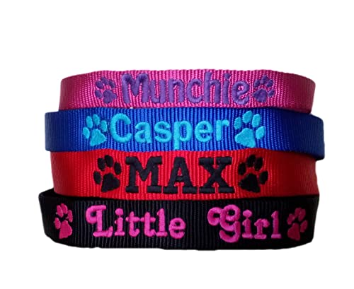 Personalised Strong Nylon Dog Collars Pink Blue Red Black FREE Embroidered Personalisation. ID Collar. (16 Inch (S))