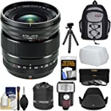 Fujifilm 16mm f/1.4 XF R WR Lens with Backpack + 3 Filters + Flash + Hood + Tripod + Kit for Fuji X-A2, X-E1, X-E2, X-M1, X-T1, X-T10, X-Pro1 Camera