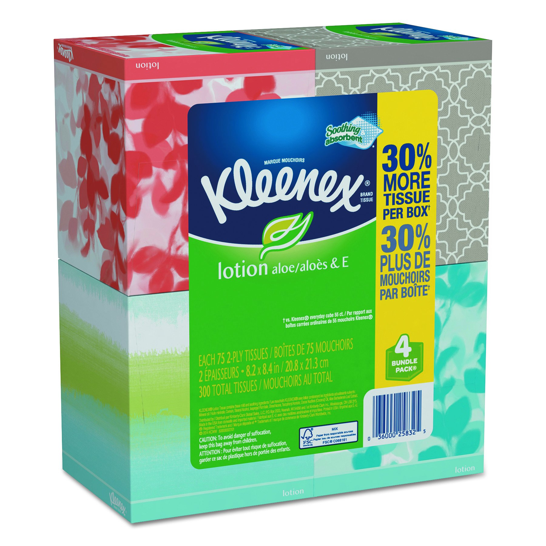Kleenex KCC 25834CT KCC25834CT Lotion Facial Tissue, 2-Ply, White (Pack of 4) by Kleenex