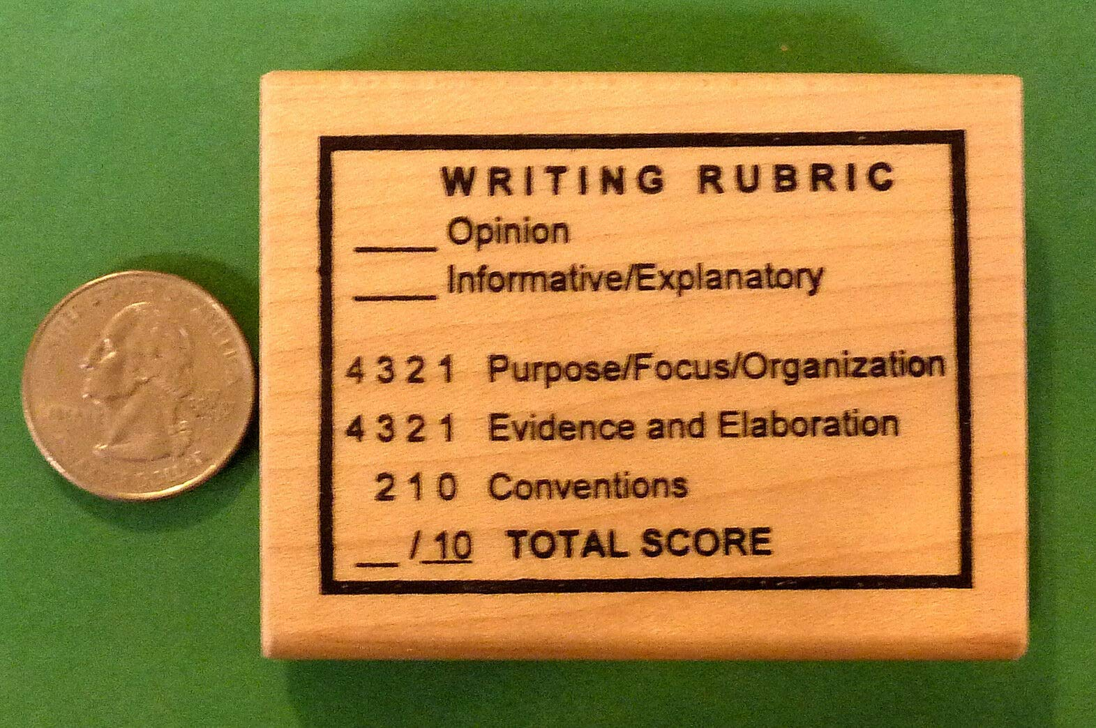 Quality Custom Rubber Stamps Writing Rubric, Teacher's Wood Mounted Rubber Stamp Carved Wooden Stamps