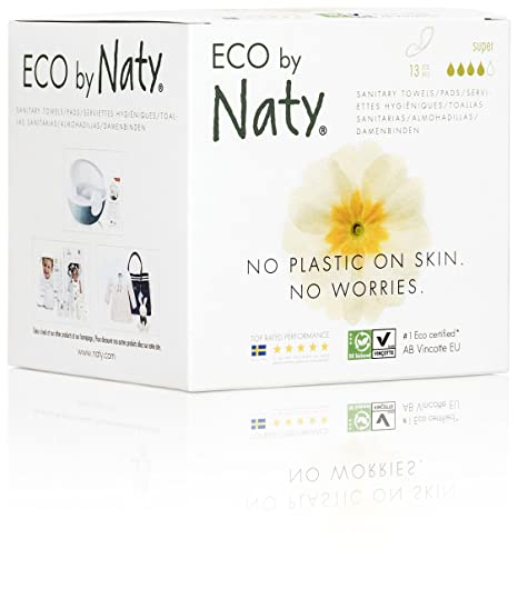 Amazon.com: Eco by Naty Certified Thin Sanitary Pads with wings, Night, 10 Pads (Chemical-Free and Unscented): Health & Personal Care