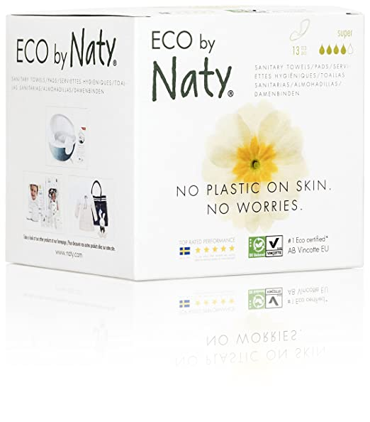 Amazon.com: Eco by Naty Certified Thin Sanitary Pads with wings, Super, 13 Pads Chemical-Free and Unscented: Health & Personal Care