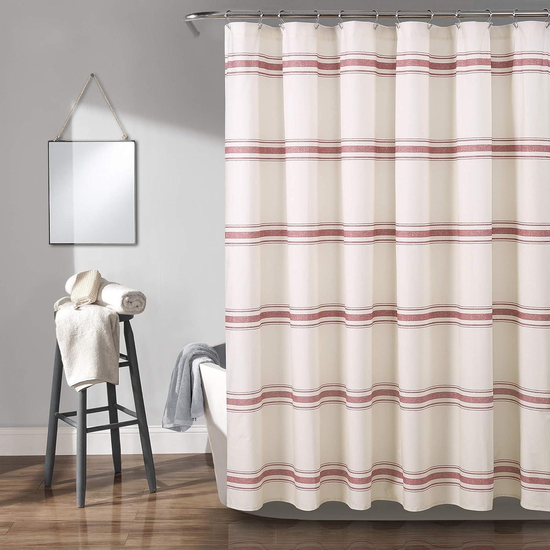 """Lush Decor, Red Farmhouse Stripe Shower Curtain, 72"""" x 72"""""""