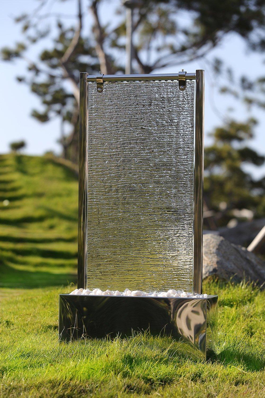 Köhko Wasserwand 23003 Aus Edelstahl Mit Glas Wasserspiel Mit  LED Beleuchtung Für Wohnzimmer Terrase: Amazon.de: Garten