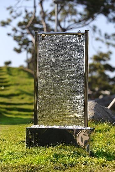 Köhko Wasserwand 23003 aus Edelstahl mit Glas Wasserspiel mit LED ...