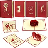 EAONE 4 Pack 3D Valentines Day Cards, Pop Up Greeting Cards Glitter Romantic Love Heart Red Rose Love Tree Sweet Couple with Envelopes for Valentine's Day Birthday Anniversary Wedding Gifts