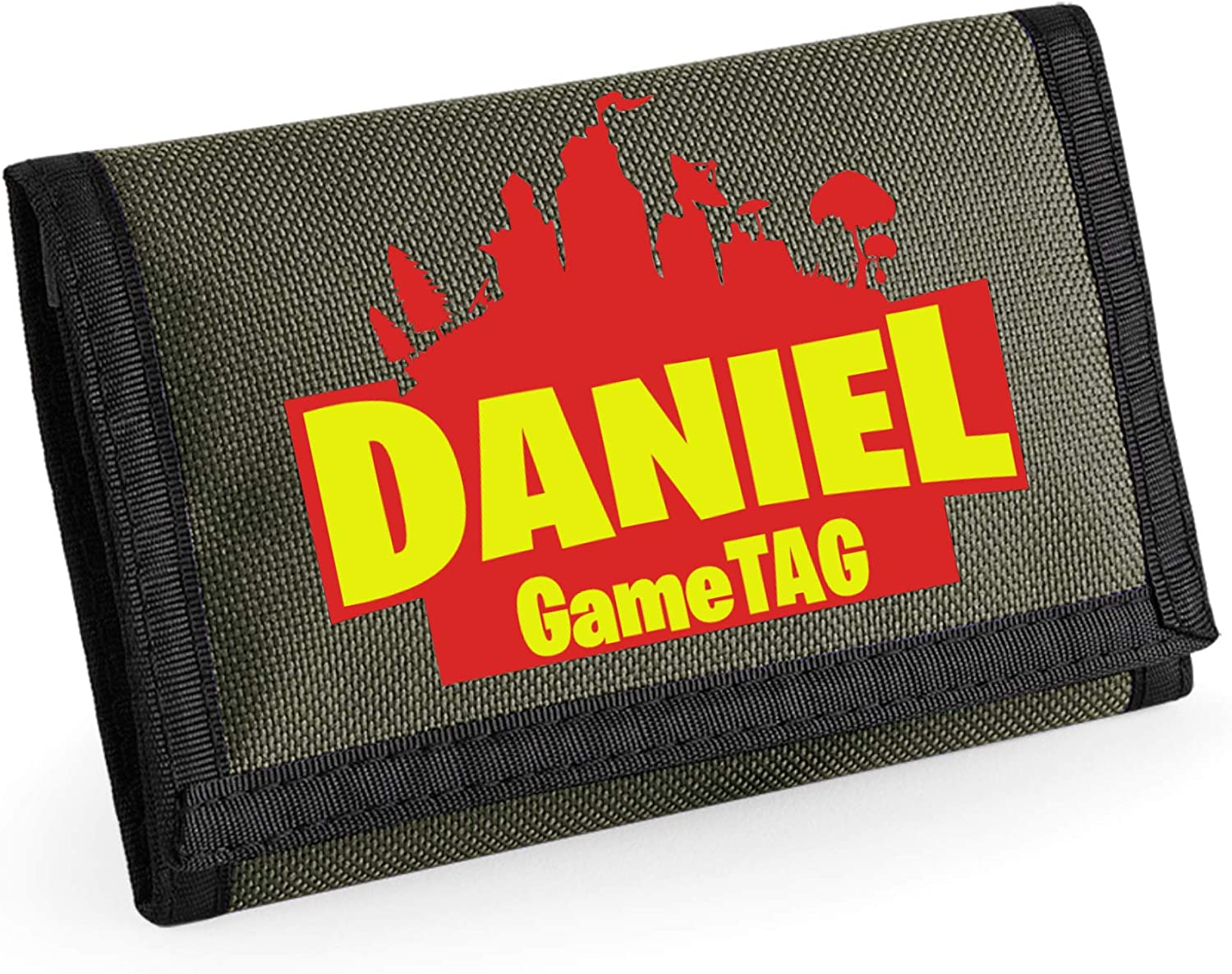 Personalised Kids Gaming Wallet for Boys//Girls with Optional GameTAG Black
