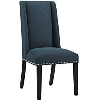 Modway Baron Upholstered Fabric Modern Tall Back Dining Parsons Chair With Nailhead  Trim And Wood Legs