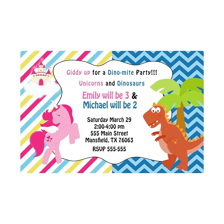 Amazon.com: 30 Invitations Dinosaur Pony Unicorn Fantasy Girl ...