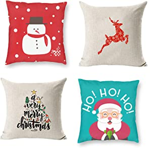 Granbey Farmhouse Christmas Pillow Covers Natural Linen Look Fabric Christma Patterns Decorative Cushion Covers for Sofa Bedroom Car 18 x 18 Inch Set of 4