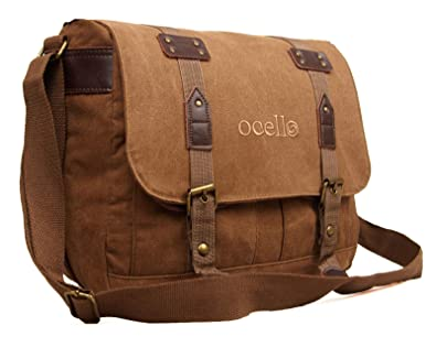 dcf449d61d Ocello Canvas School Work College Satchel Fits A4 Dispatch Messenger Bag  (Brown)