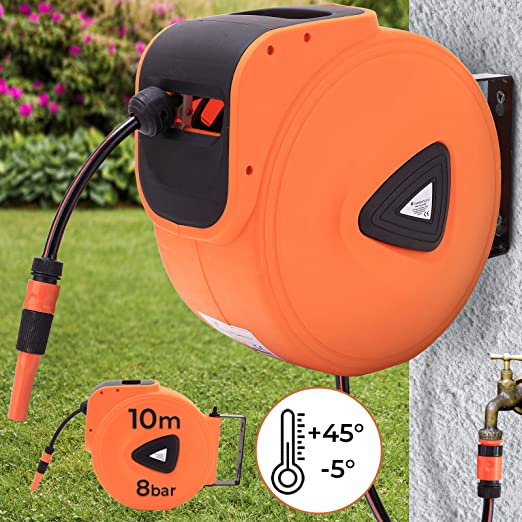 Enrollador de manguera - 10 m, automático, 3/4 pulgadas, orientable 180°, manguera de agua: Amazon.es: Jardín