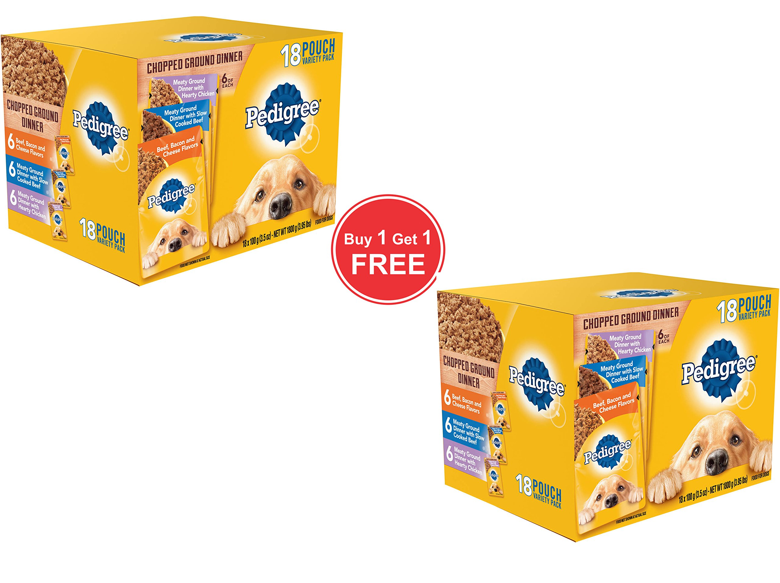 PEDIGREE Pouches 18 Flavor Dog Food Variety Pack (Chopped Ground Dinner)