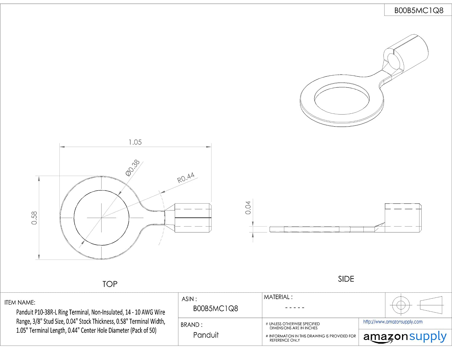 panduit p10 38r l ring terminal non insulated 14 10 awg 3 8 RV Air Conditioner Wiring Diagram panduit p10 38r l ring terminal non insulated 14 10 awg 3 8 inch stud size 50 pack amazon industrial scientific
