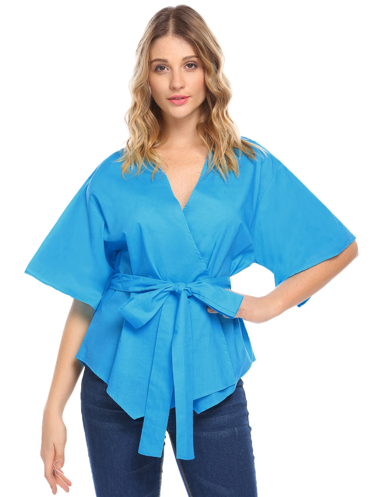 UNibelle Sexy Womens V Neck Half Sleeve Wrap Front Swing Tops with Waist Tie (XX-Large, Blue)