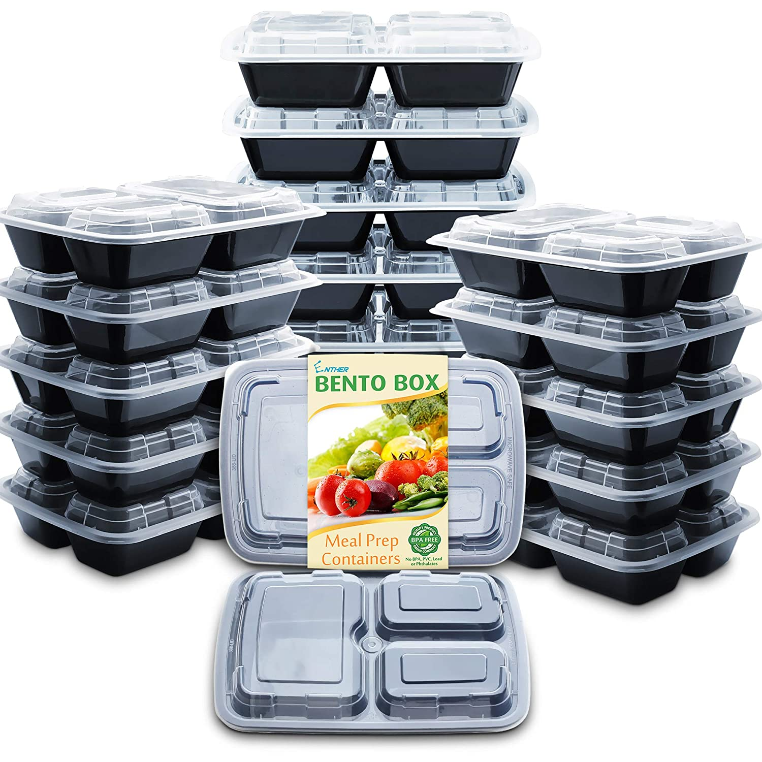 Enther 24oz Meal Prep Containers [20 Pack] 3 Compartment with Lids, Food Storage Bento Box, BPA Free, Reusable Lunch Box, Microwave/Dishwasher/Freezer Safe, Portion Control