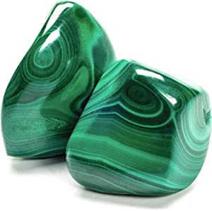 KALIFANO Tumbled Malachite Bundle - AAA+ Jewelry Grade Reiki Crystal Used for Protection and Positive Change - Piedras Caidas for Wicca/Healing (Family Owned)